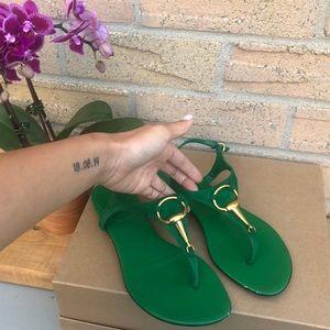 Gucci - green & gold sandals EU36 | authentic